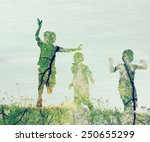 Children Running On Meadow At...