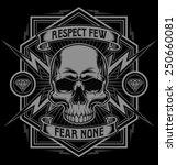 respect skull lightning graphic | Shutterstock .eps vector #250660081