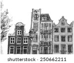 amsterdam house drawing | Shutterstock .eps vector #250662211
