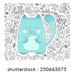 Stock vector cute cat hello hi have a nice day text message vector illustration love concept 250663075