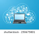 cloud upload with apps... | Shutterstock .eps vector #250675801