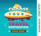 travel background with zeppelin....   Shutterstock .eps vector #250676707
