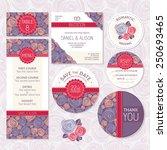 Set Of Floral Wedding Cards...