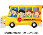 happy children on school bus | Shutterstock . vector #250693801