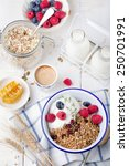 healthy breakfast. granola ... | Shutterstock . vector #250701991