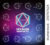 vector hexagon animation set... | Shutterstock .eps vector #250707625