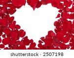 Heart made of red rose petals on a white background - stock photo
