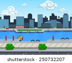 seamless cartoon city landscape ...