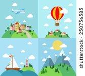 set of flat outdoor vacation... | Shutterstock .eps vector #250756585