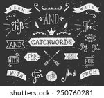 Stock vector a set of chalkboard style catchwords and design elements hand drawn words and for from 250760281