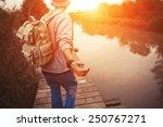 Traveler with backpack walking...