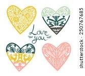vintage hearts | Shutterstock .eps vector #250767685