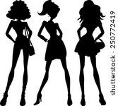 vector set silhouette fashion... | Shutterstock .eps vector #250772419
