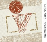Basketball Symbol On Old Paper...