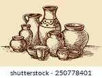 Empty Painted Clay Pots For...