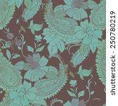vector flower paisley seamless...   Shutterstock .eps vector #250780219