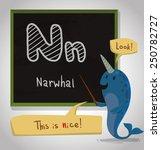 Alphabet Animal  Narwhal  Vector