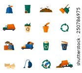 garbage icons flat set with... | Shutterstock .eps vector #250786975