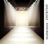 Empty fashion runway podium stage interior realistic background vector illustration | Shutterstock vector #250787545