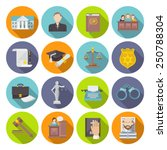 law icon flat set with lawyer...   Shutterstock .eps vector #250788304