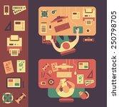 workplace. business  computer ...   Shutterstock .eps vector #250798705