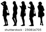 set of teenage girl silhouettes | Shutterstock .eps vector #250816705