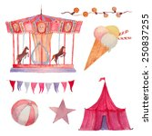 Watercolor Circus Set. Hand...