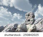 number eight rock under cloudy... | Shutterstock . vector #250842025