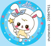 cute rabbit cartoon on star... | Shutterstock .eps vector #250847911