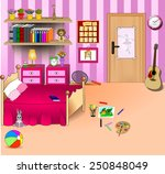 kid bedroom. vector art image...