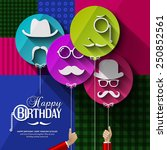 vector birthday card. colorful... | Shutterstock .eps vector #250852561