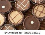 dark chocolate on a white... | Shutterstock . vector #250865617