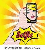 women selfie pop art vector... | Shutterstock .eps vector #250867129
