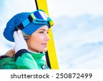 Closeup Portrait Of Cute Skier...