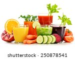 glasses with fresh organic... | Shutterstock . vector #250878541