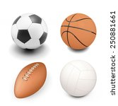set of sport ball isolated on... | Shutterstock . vector #250881661