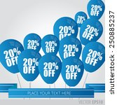 blue balloons with sale...   Shutterstock .eps vector #250885237