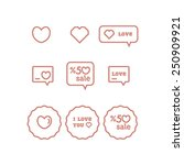 valentines day stickers | Shutterstock .eps vector #250909921