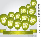 green balloons with sale... | Shutterstock .eps vector #250929571