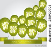 green balloons with sale... | Shutterstock .eps vector #250930705
