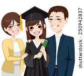 asian parents standing proud... | Shutterstock .eps vector #250942837