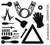 road kit silhouettes set. tire... | Shutterstock .eps vector #250949734
