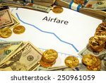 Small photo of chart of airfare going down with money and gold