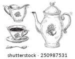 tea. vector set of vintage... | Shutterstock .eps vector #250987531