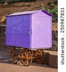 Small photo of Street vendor (hawker) purple cart, India
