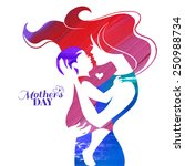 acrylic painting mother... | Shutterstock .eps vector #250988734