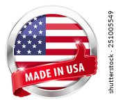made in usa silver badge thumbs ...   Shutterstock .eps vector #251005549