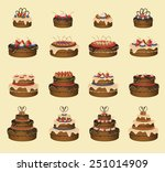 set of sixteen cakes. vector... | Shutterstock .eps vector #251014909