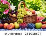 Basket Of Fresh Organic Fruits...