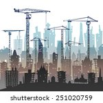 building site with cranes. city ... | Shutterstock .eps vector #251020759